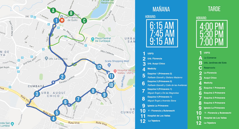 Nueva Ruta Transporte USFQ - Cumbayá