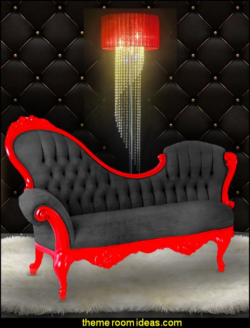chaise lounge crystal lighting boudoir furniture Moulin Rouge Victorian Boudoir style bedroom decorating ideas - Moulin Rouge style bedroom ideas - boudoir themed decor - Moulin Rouge decor ideas - French boudoir themed bedrooms - boudoir furniture - sexy themed bedroom decorating ideas - feathery lamps - bordello bedrooms - Romantic style bedrooms - French Victorian boudoir