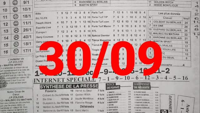 programme quinté quinté+ jeudi 30/09/2021