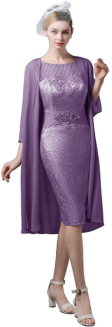 Lace Purple Mother of The Groom Dresses