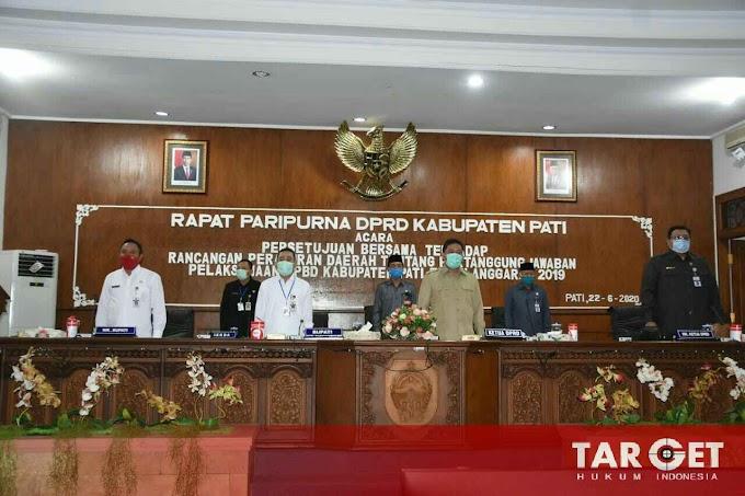 Bupati Haryanto Berikan Pendapat Akhir Terhadap Raperda Tentang Pertanggungjawaban Pelaksanaan APBD Kab. Pati Tahun Anggaran 2019