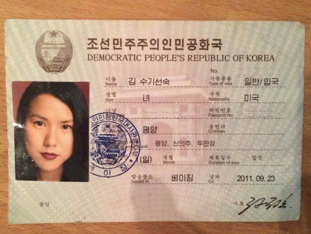 O visto de entrada à Coreia do Norte concedido a Suki Kim.