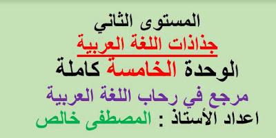 جذاذات-الوحدة-الخامسة-في-رحاب-اللغة-العربية--المستوى-الثاني-المنهاج-الجديد