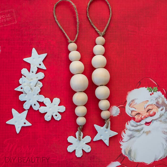 Wood bead ornaments with DIY clay tags