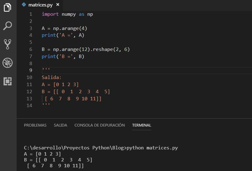 arange() y shape() NumPy y Python