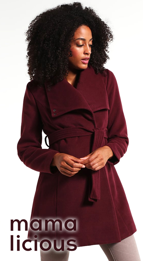Manteau grossesse mi-long bordeaux MAMALICIOUS