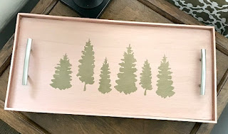 Modern Rose Gold Stenciled Tray with Christmas Trees
