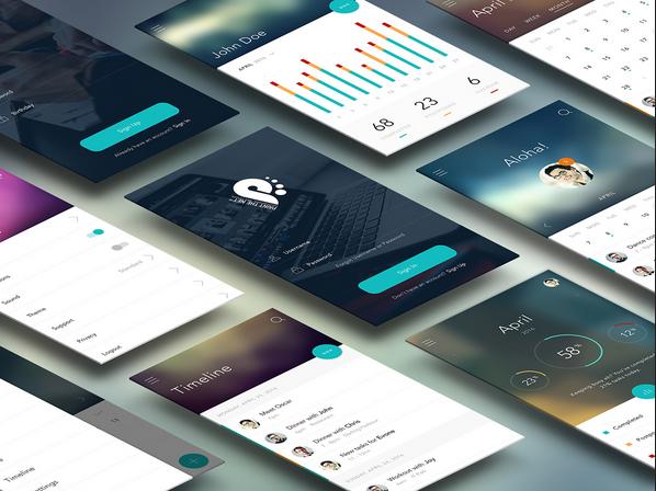 Download Flat Mobile App UI/UX Design PSD Free