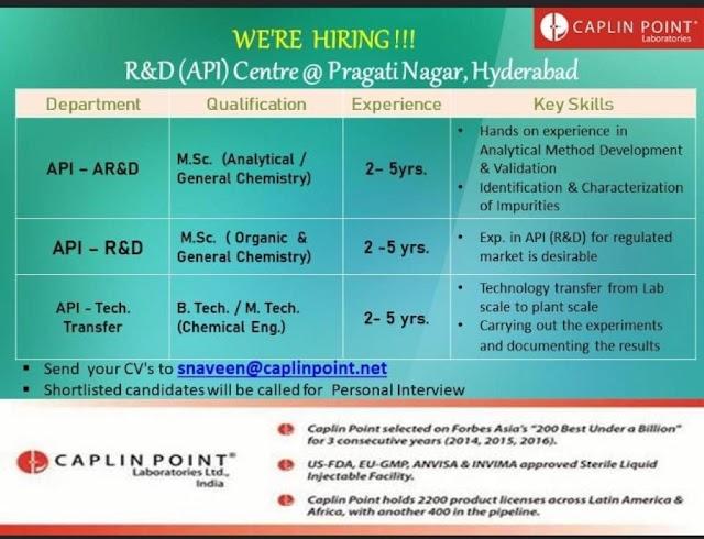 CAPLIN POINT Laboratories Ltd. Recruitment- API- AR&D, R&D, & Tech Transfer Send your CV