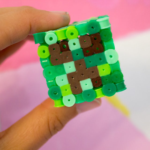 directions how to make 3d perler bead minecraft creepers- fun affordable kids craft