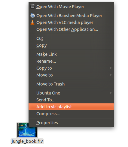 Vlc : Add to playlist option in context menu [ubuntu]