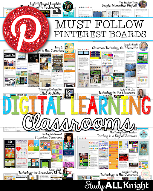 Are you looking for awesome technology Pinterest boards for teachers to follow? Then you'll love this post! There are 13 great boards to help with technology in the classroom. You'll get ideas for iPads, tablets, Google classroom, 1:1, apps, organization of technology, classroom management revolving around technology, and everything else related to technology! Ideas for elementary, middle school, and high school can all be found here!