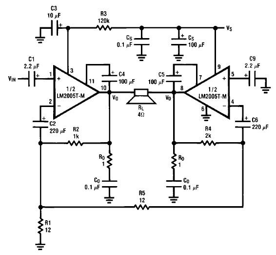 20 watt audio amplifier circuit