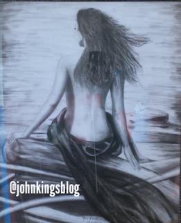 A lady with a bare back. Mary Ogochukwu Nwele's drawing
