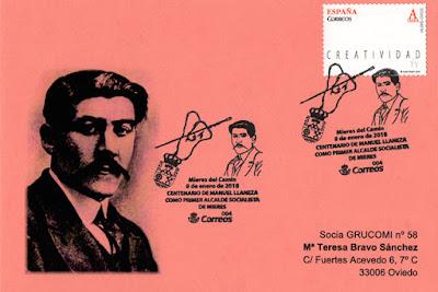 Tarjeta con el matasellos de Manuel Llaneza Zapico