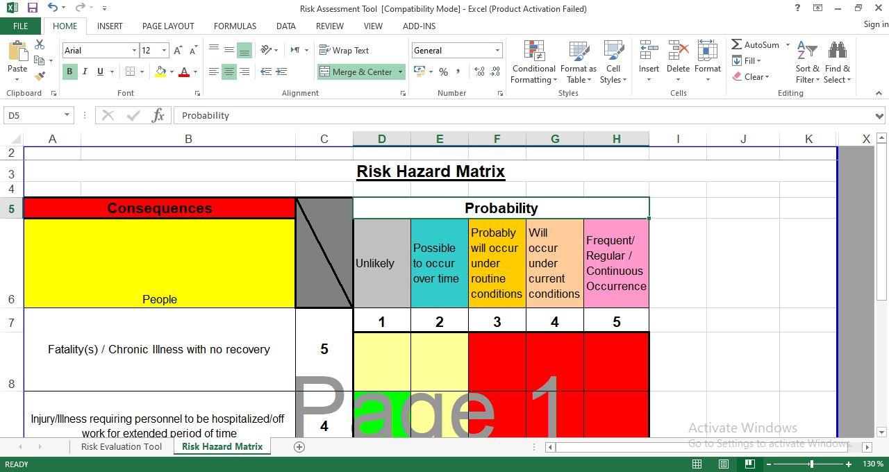 Risk Hazard Matrix Template in Excel