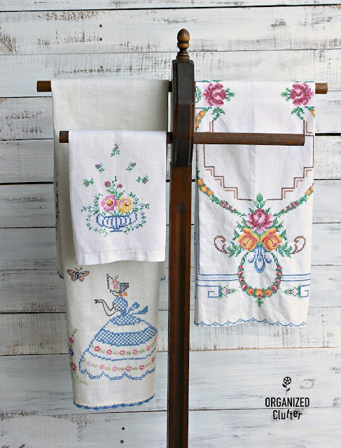 Bath Towel Stand Repurposed for Linens www.organizedclutter.net