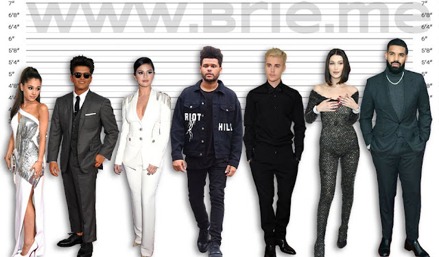 Ariana Grande, Bruno Mars, Selena Gomez, The Weeknd, Justin Bieber, Bella Hadid, and Drake height comparison