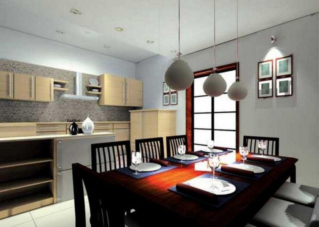 gambar desain interior ruang makan menyatu dengan dapur tampak bagus