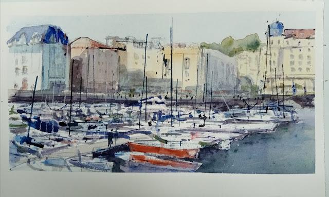 Acuarela de barcos en el puerto de Santander.