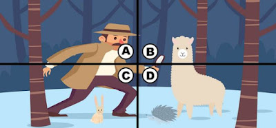 Alt-4 Q 18. This detective heard that there have been sightings of a tiny monster in this area. he tells kiki that he will help her buy her watermelon if she can find the monster. where is the tiny monster in this picture?