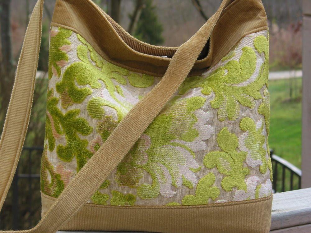 Niesz Vintage Home And Fabric Lime Vintage Cut Velvet Boho Bag