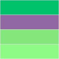 tons de verde e azul arroxeado