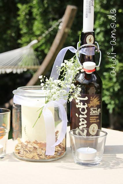 Tischdeko Schleierkraut Weckglas Bierflaschen DIY