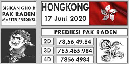 Prediksi HK Malam Ini 17 Juni 2020 - Pak Raden