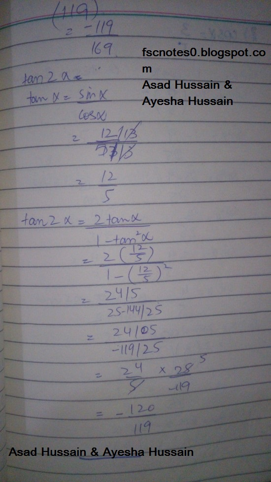 FSc ICS FA Notes Math Part 1 Chapter 10 Trigonometric Identities Exercise 10.3 Question 1 - 4 Written by Asad Hussain & Ayesha Hussain 2