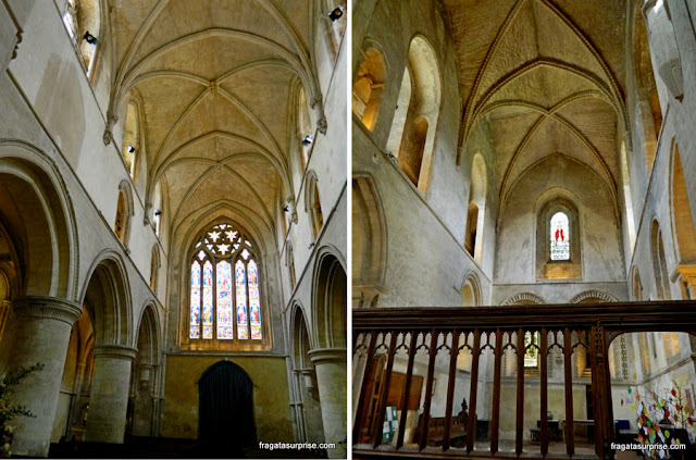 Interior da igreja medieval da Santa Cruz, no Hospital of Saint Cross, Winchester