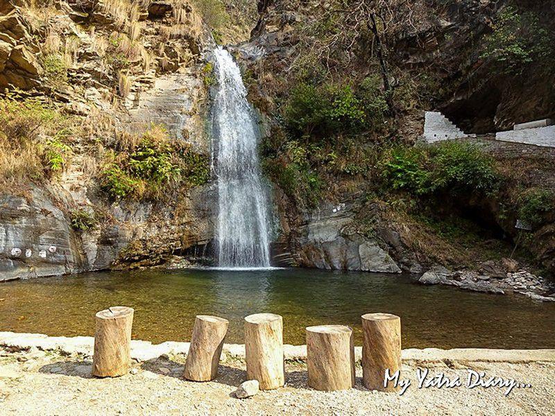 Picturesque Dhokaney waterfall near Dhanachuli Uttarakhand