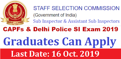SSC CAPFs and Delhi Police SI Examination 2019
