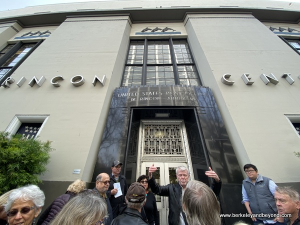tour guide Rick Evans in front of Rincon Center Annex during Commonwealth Club Waterfront tour in San Francisco, California