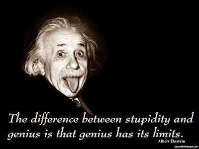 Albert Einstein quote picture - difference between stupidity and genius