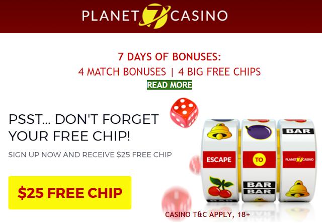 7 Days of Bonuses at Planet7 Casino