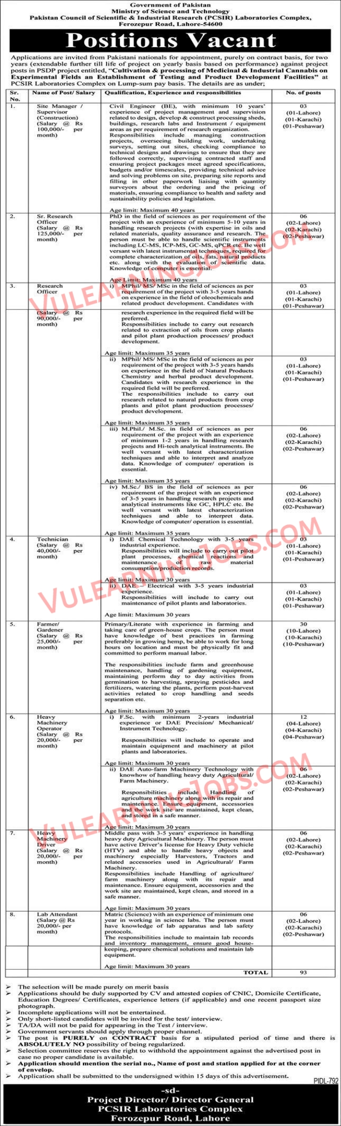 Ministry Of Science & Technology Jobs September 2021 For Supervisor, Research Officer, Technician & Other Latest