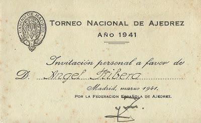 Anverso de la invitación a Ángel Ribera
