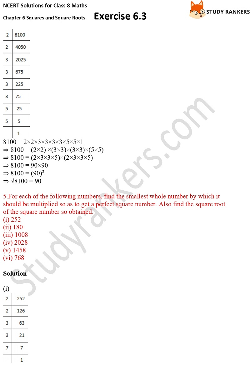 NCERT Solutions for Class 8 Maths Ch 6 Squares and Square Roots Exercise 6.3 7