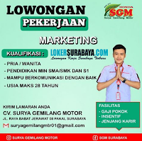 Loker Surabaya di CV. Surya Gemilang Motor Agustus 2020