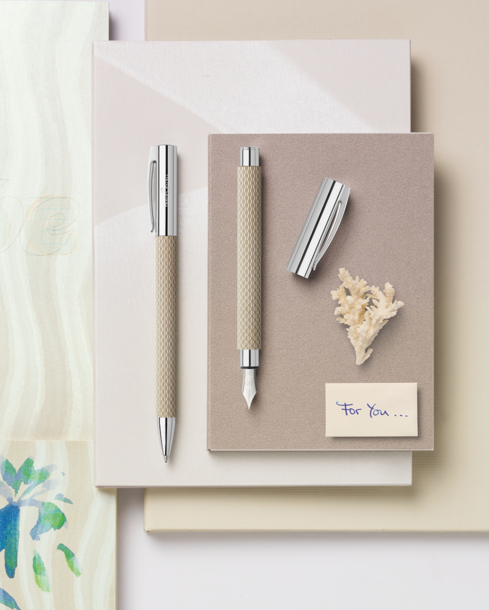 """Faber-Castell AMBITION OpArt """"White Sand"""" Fountain pen"""