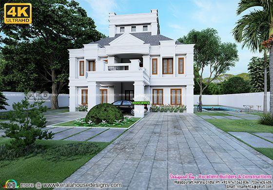 Colonial model house in 4K rendering
