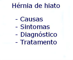 Hérnia de hiato causas sintomas diagnóstico tratamento prevenção riscos complicações