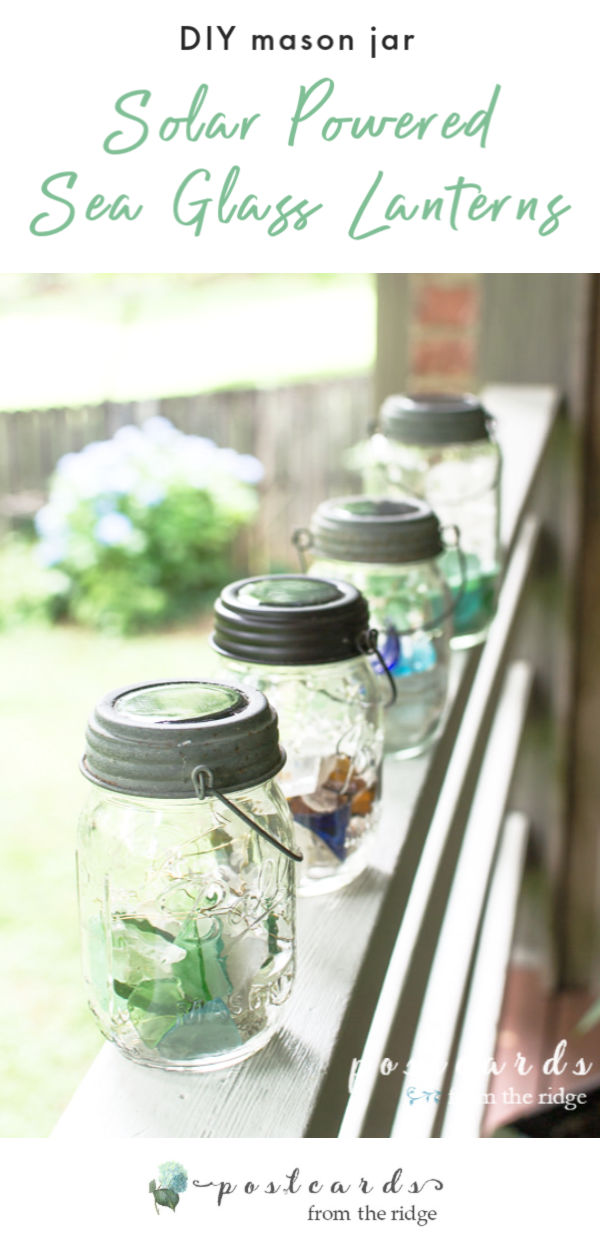 solar powered lids on sea glass mason jar lanterns