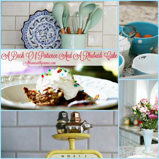 cake,mix, easy, five, ingredient, recipe, rhubarb, cake, spring