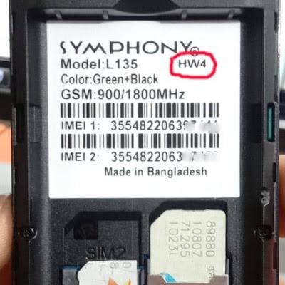 Symphony L135 HW4 Flash File