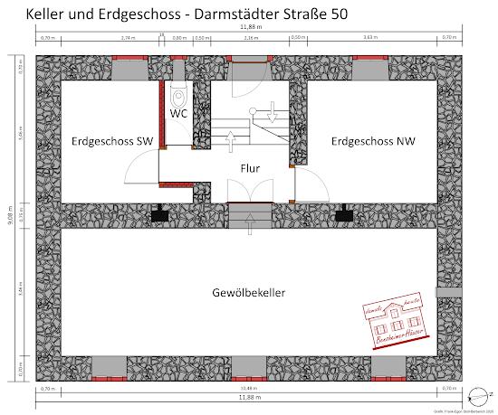 Abb. 1: Erdgeschoss und Keller - Darmstädter Straße 50, Frank-Egon Stoll-Berberich 2020