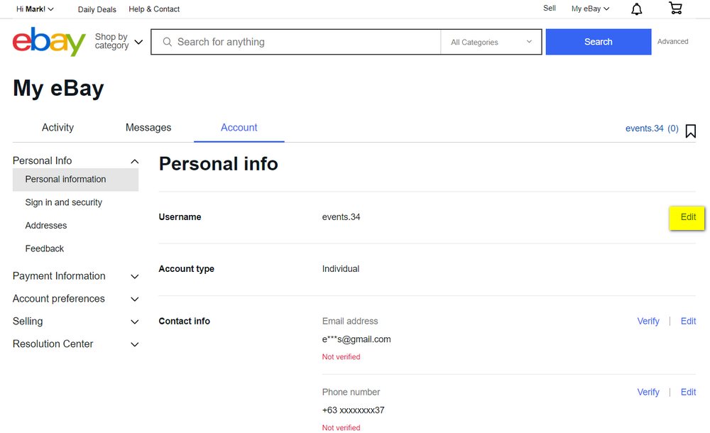 eBay Personal Information Page, eBay