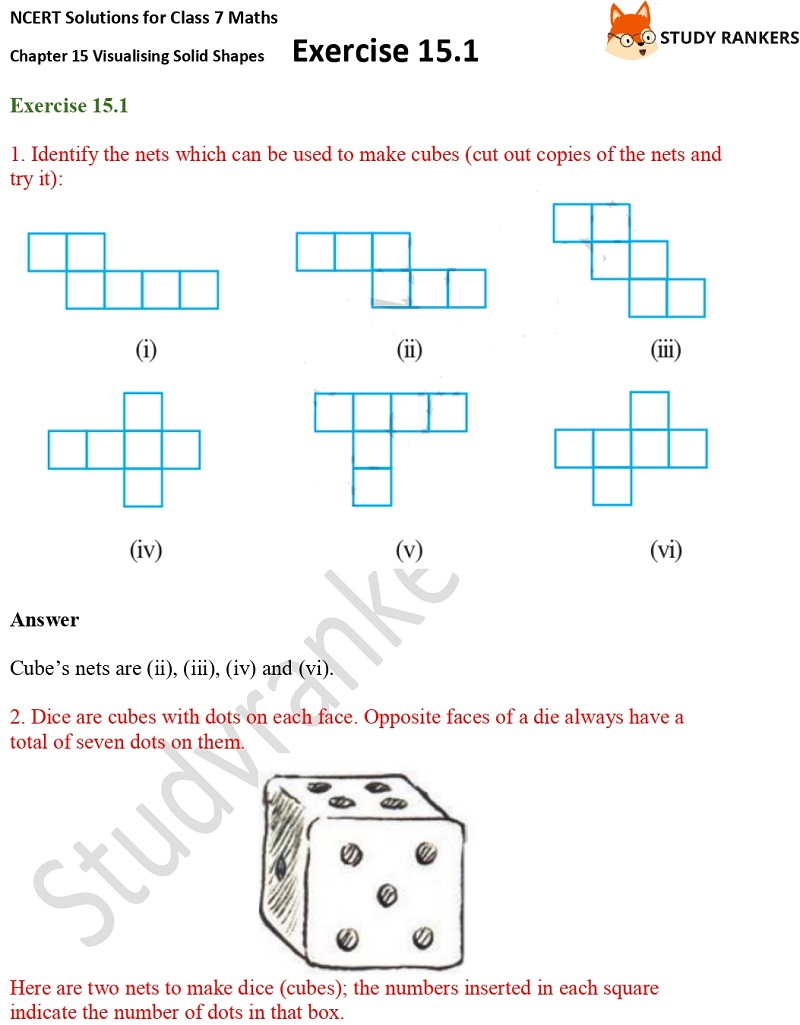 NCERT Solutions for Class 7 Maths Chapter 15 Visualising Solid Shapes Exercise 15.1 Part 1