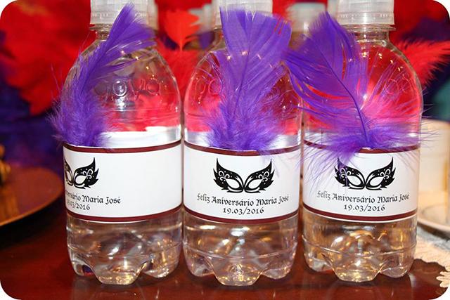 Decoração Baile de Máscaras Veneziano - Aniversário Garrafas de Água